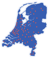 Map of the Netherlands with pointers of all Handyman shops